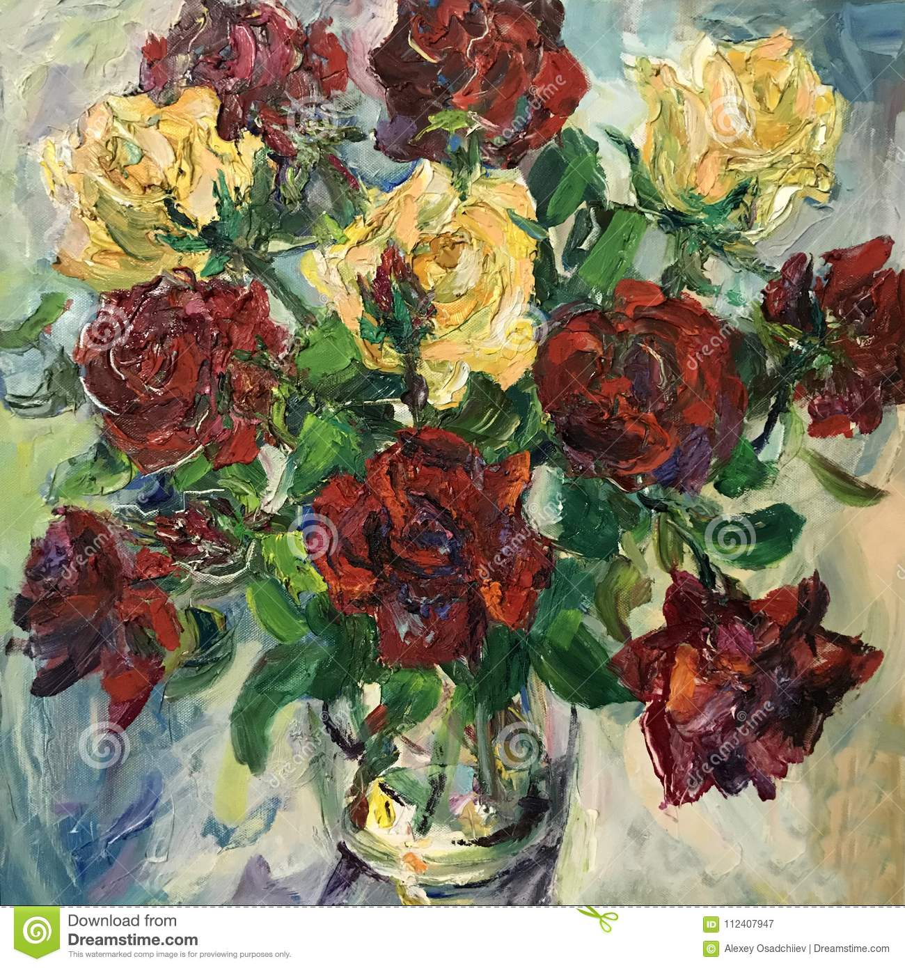 Drawing Of Red Roses Flower Bouquet Stock Image Image Of