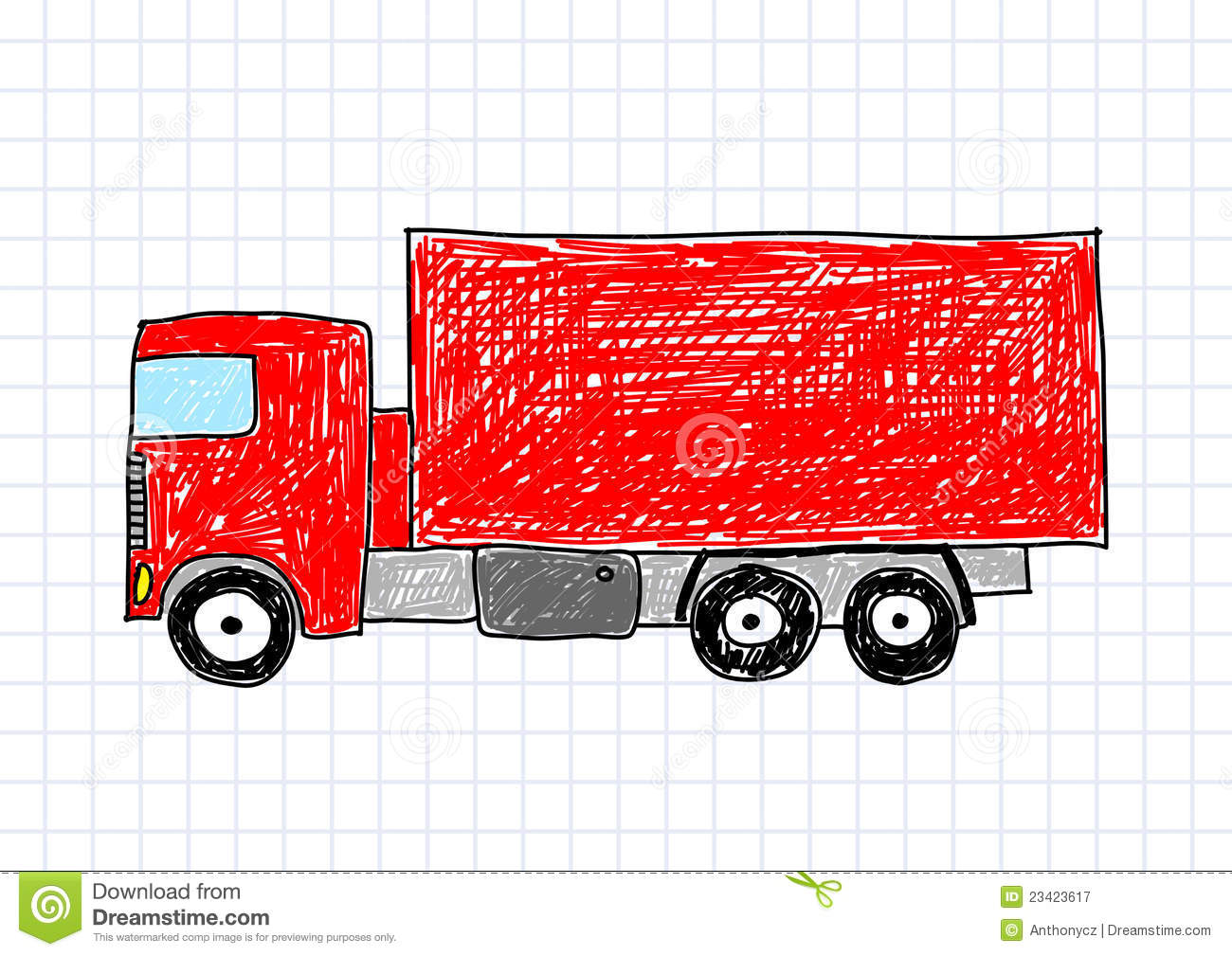 Drawing Of Red Truck Royalty Free Stock Photography