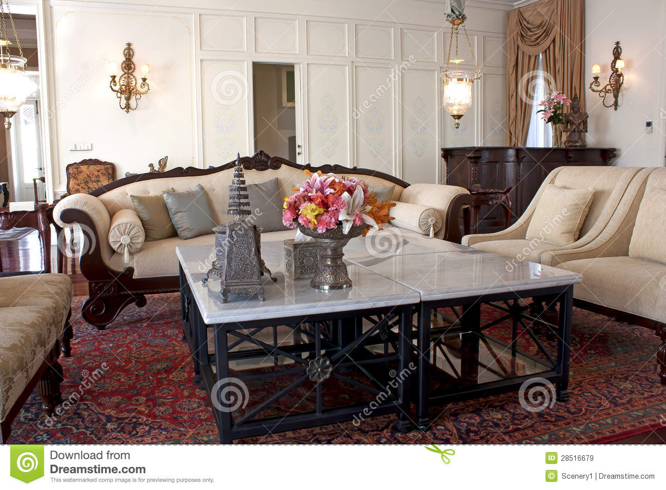 Classic drawing room with baroque furniture stock image for Drawing room farnichar