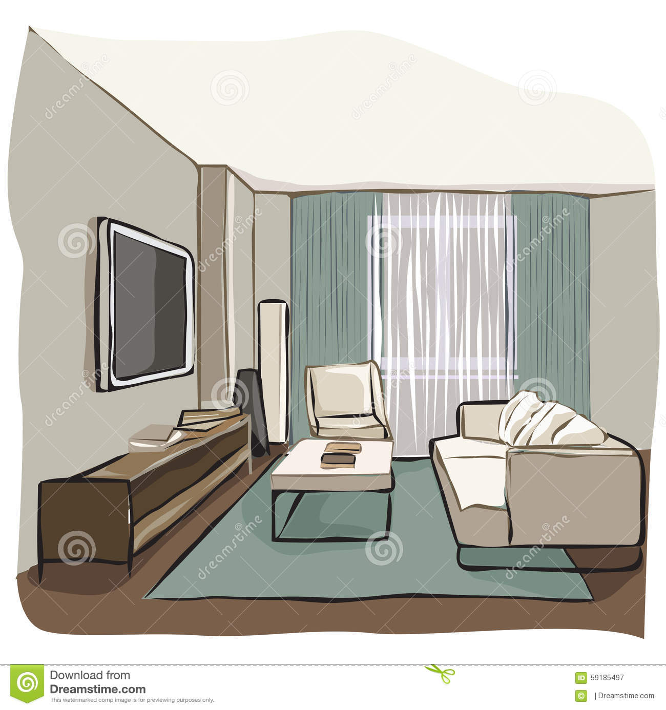 Drawing room stock vector image 59185497 for Drawing room