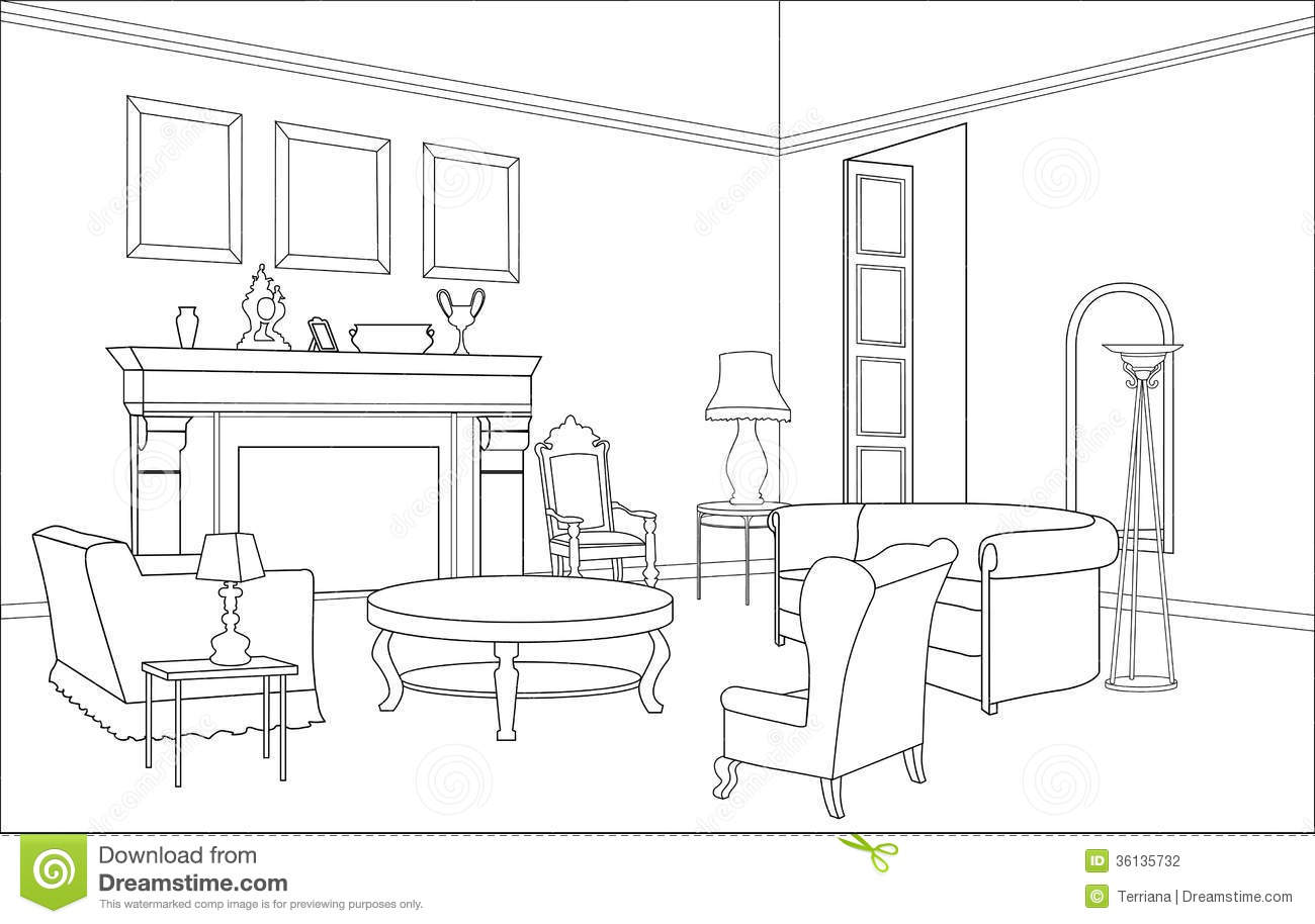 Line Drawing Room : Drawing room with fireplace editable furniture interior