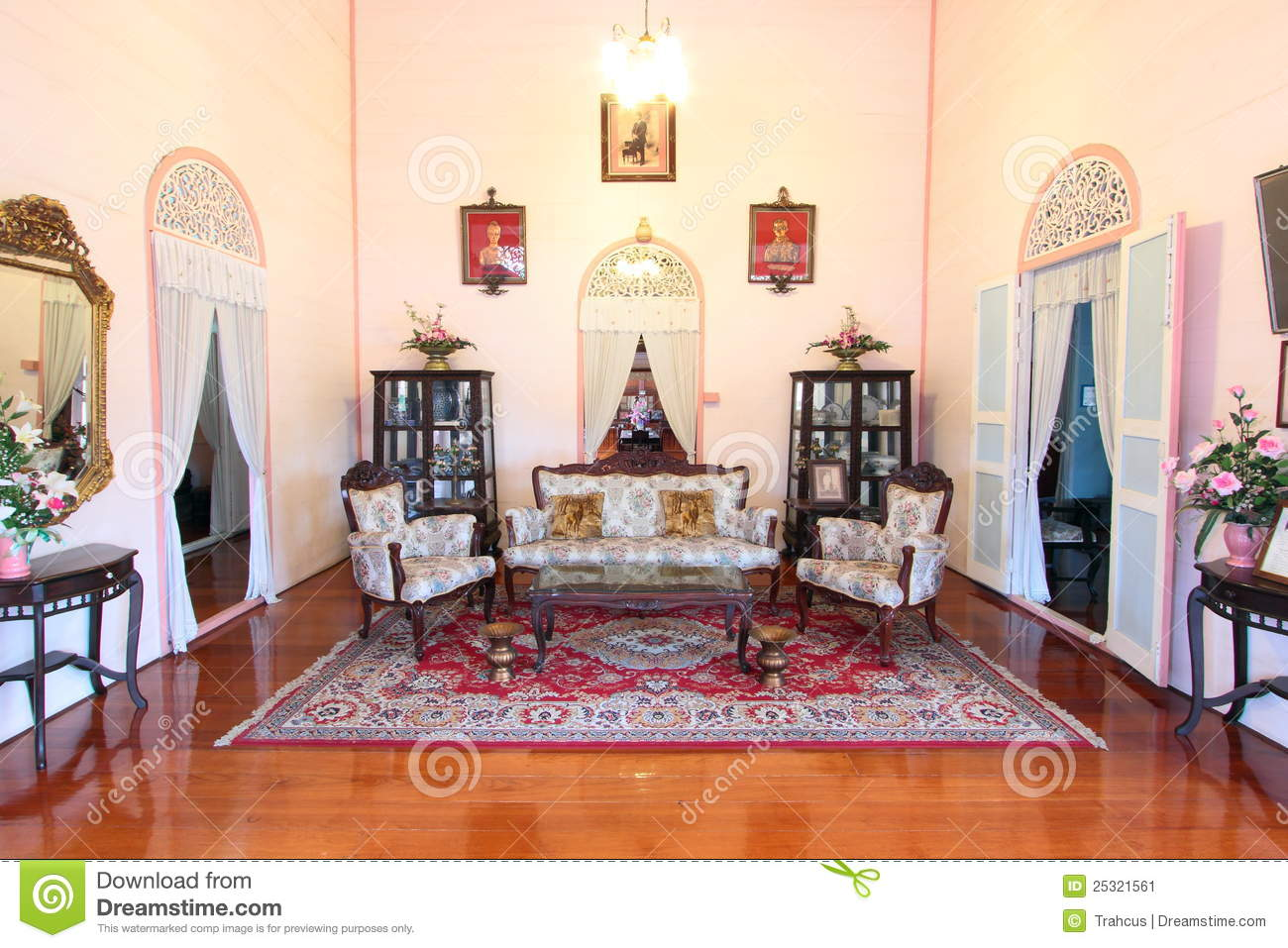 Download Drawing Room Of House By Colonial StyleThailand Stock Image