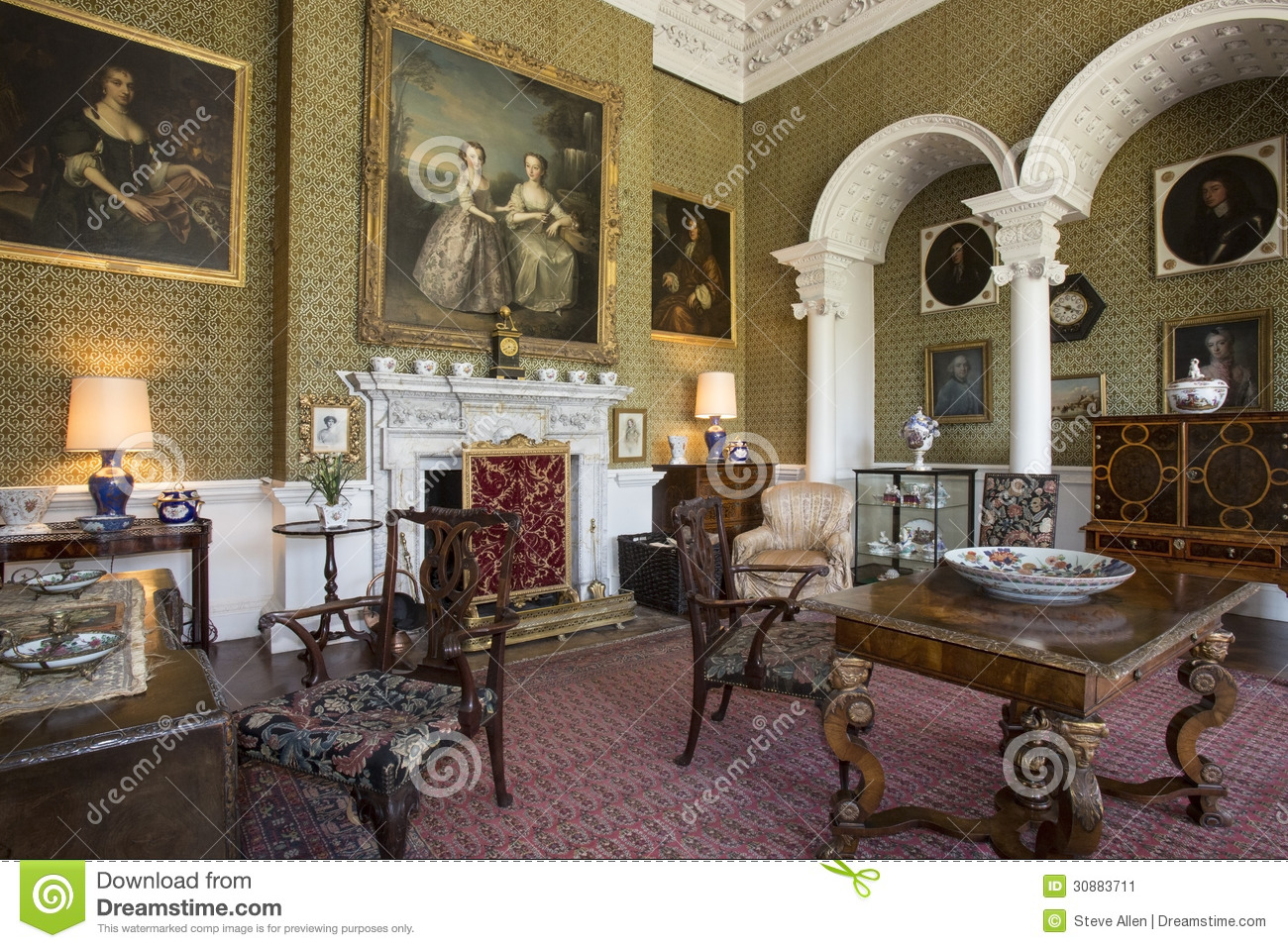 Drawing room manor house yorkshire england editorial for Home interior drawing room