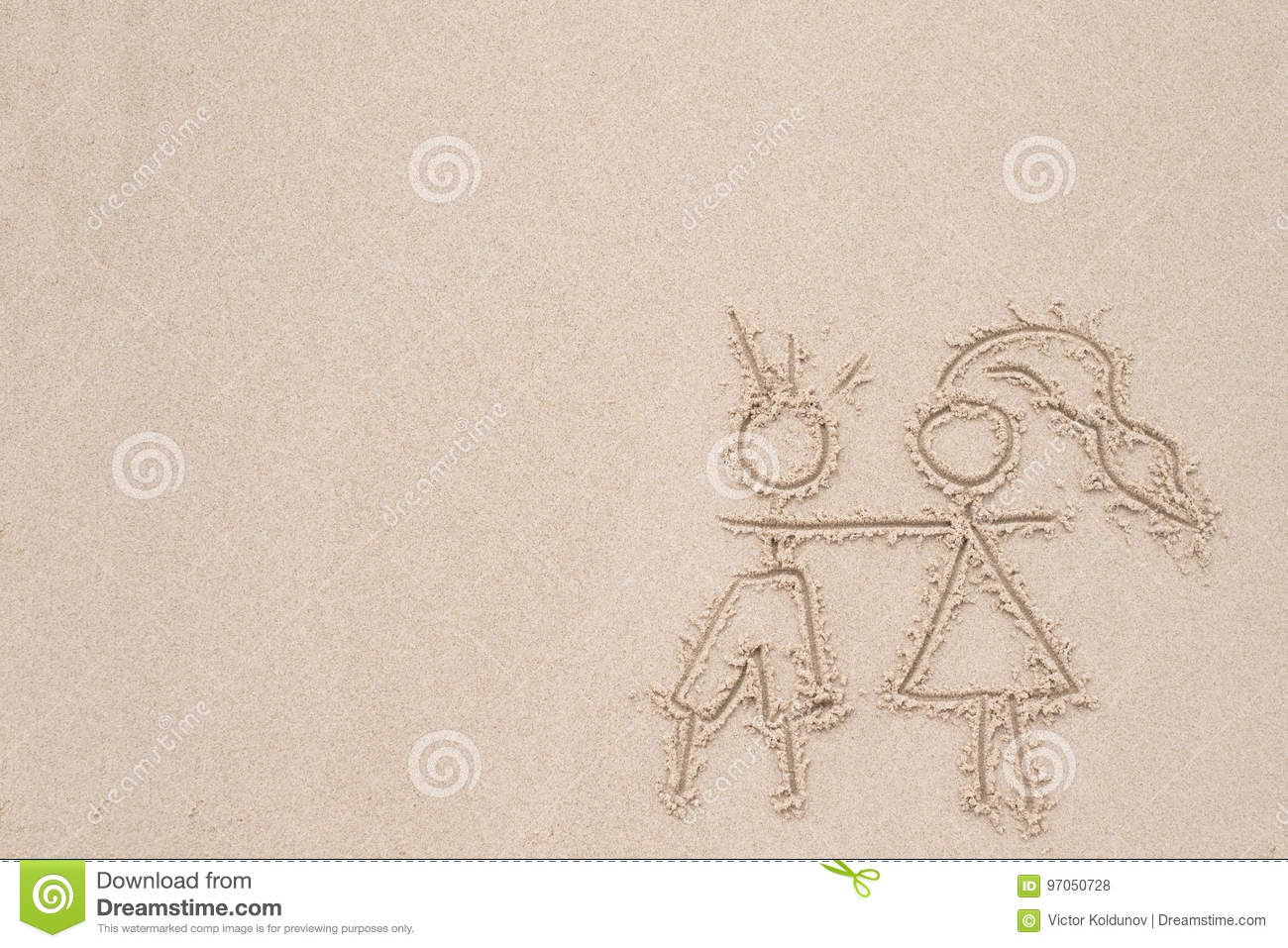 Drawing In The Sand Depicting Love Of Man And Woman Stock Photo