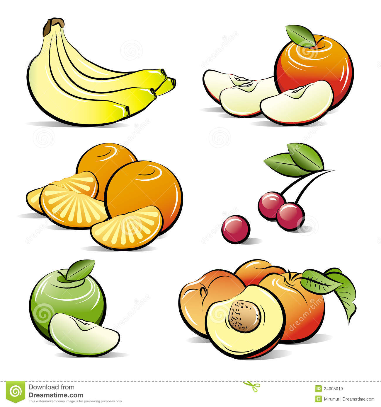 Drawing Set Of Different Color Fruits Royalty Free Stock