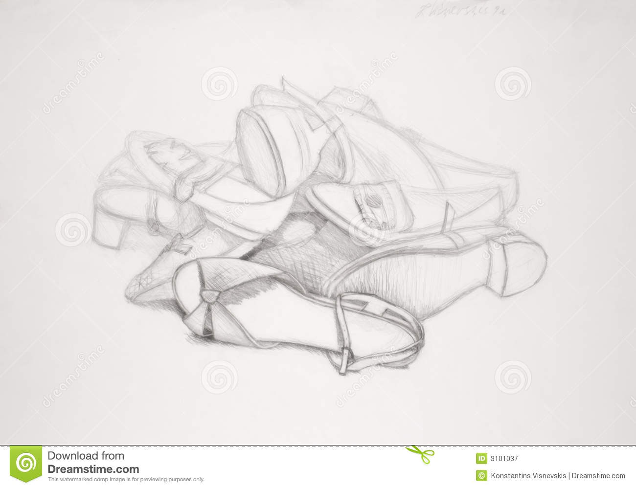 Drawing Of Shoes Stock Illustration Illustration Of Freehand 3101037