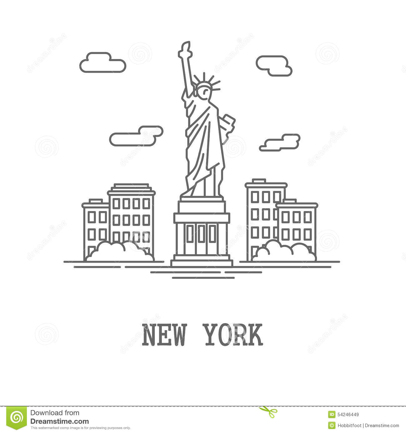 Drawing Silhouette New York City Stock Vector Illustration Of Icon