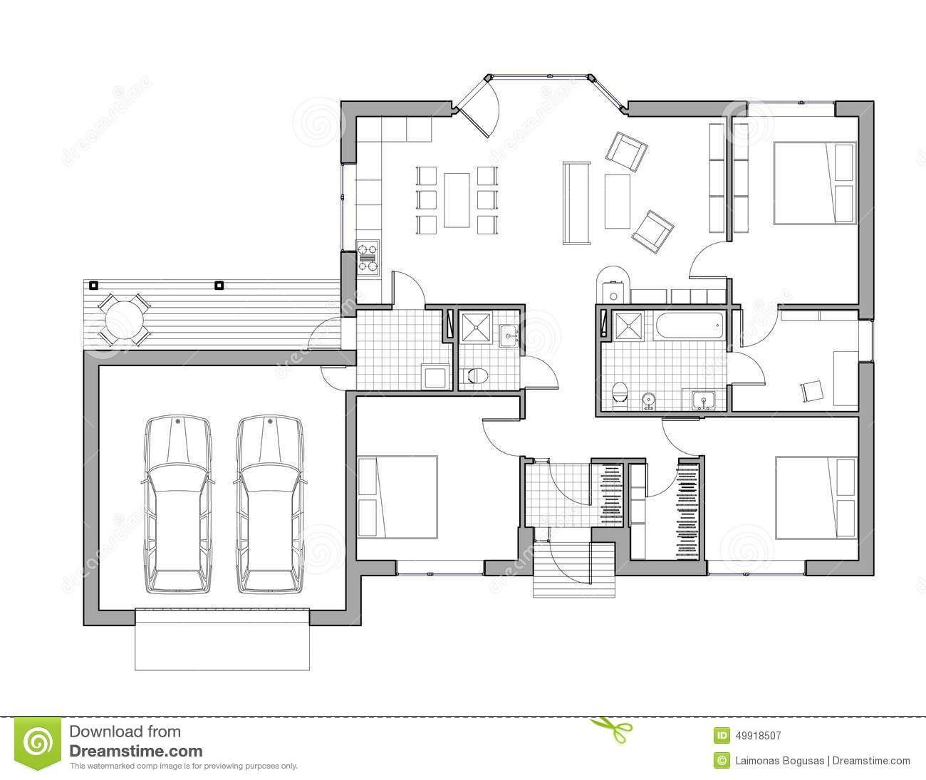 Drawing single family house stock illustration image for Free single family home floor plans