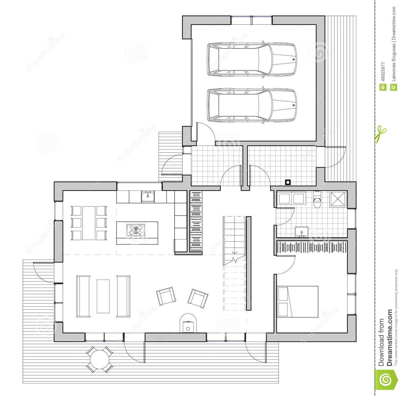 Drawing single family house stock illustration image for Progetti di ville moderne