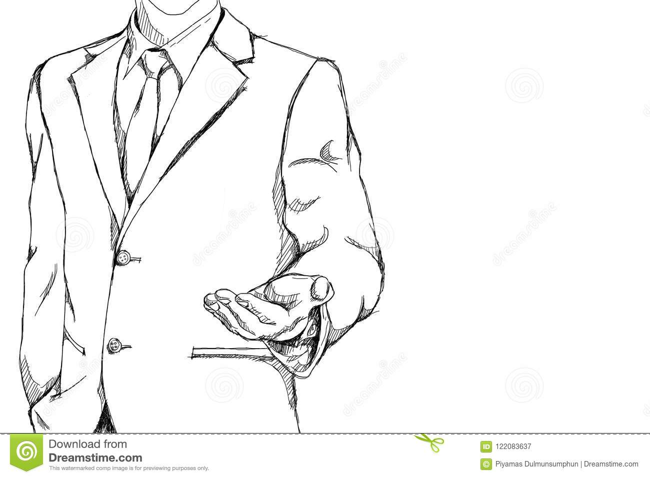 Drawing sketch simple line of business man with open palm hand drawing sketch simple line of business man with open palm hand action for invite meaning on friendly business with copy space stopboris Images