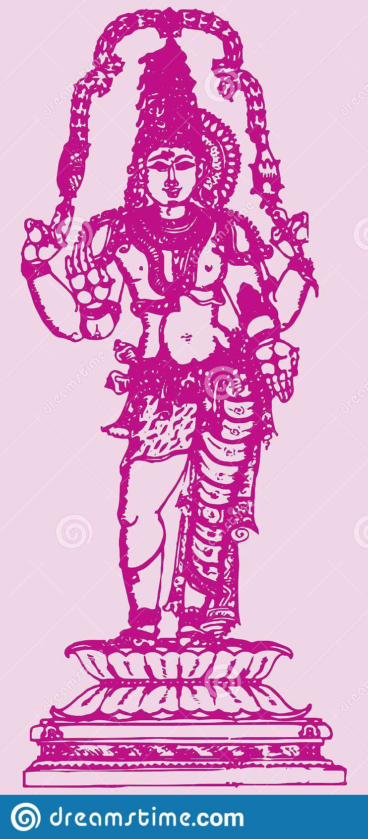 Drawing Of Standing Statue Of Lord Shiva And Parvati Concept Of