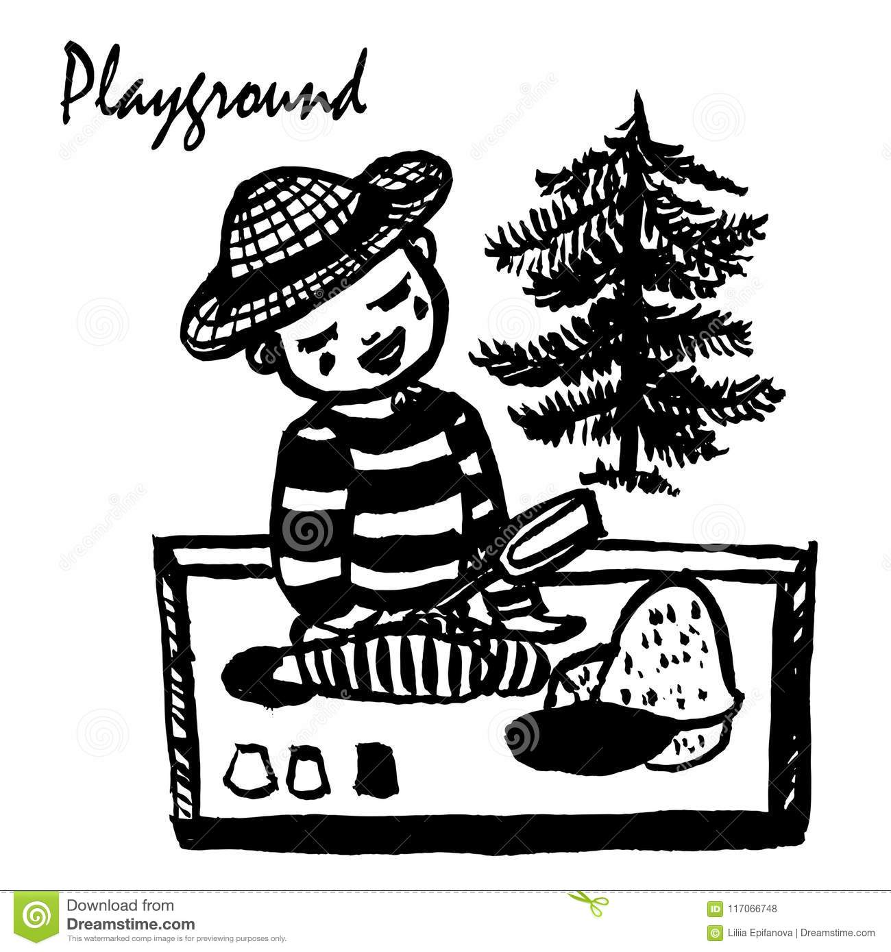 Drawing A Small Boy In A Striped T-shirt And Panama Sitting In The ...