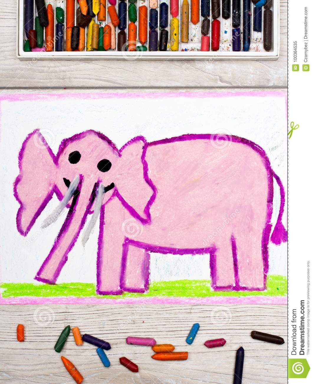 Drawing: Smiling pink elephant