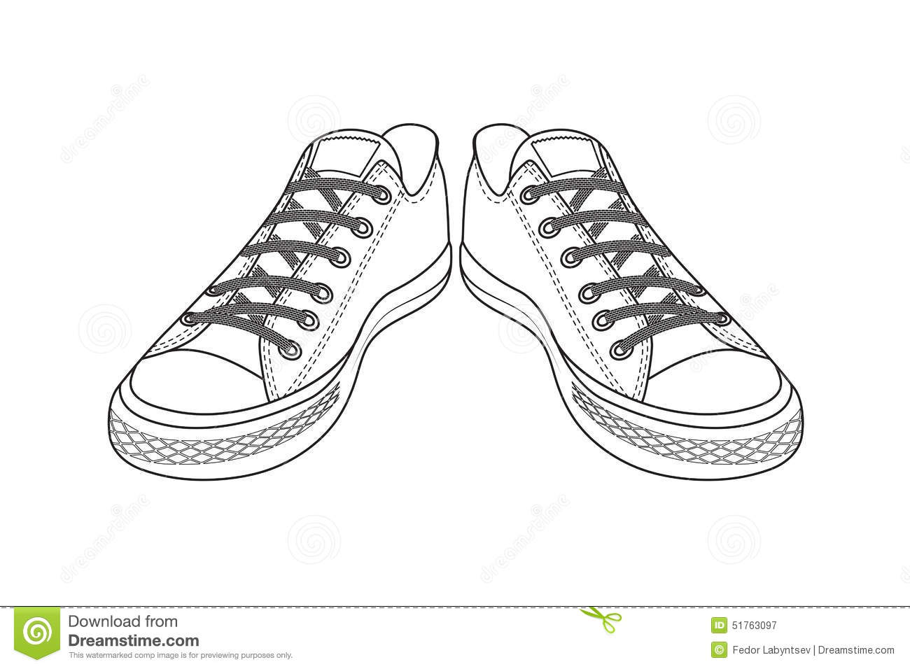 Drawing Of Sports Shoes Youth Easy Footwear Stock Vector