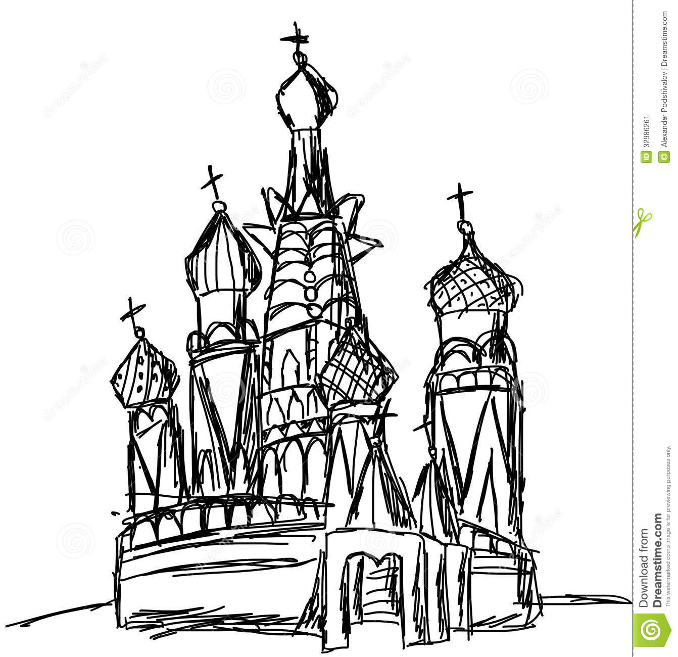 Drawing Of St Basil Cathedral Moscow Stock Image