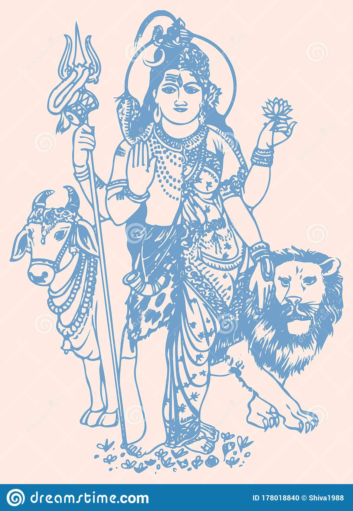 Drawing Of Standing Pose Of Lord Shiva And Parvati Concept Of