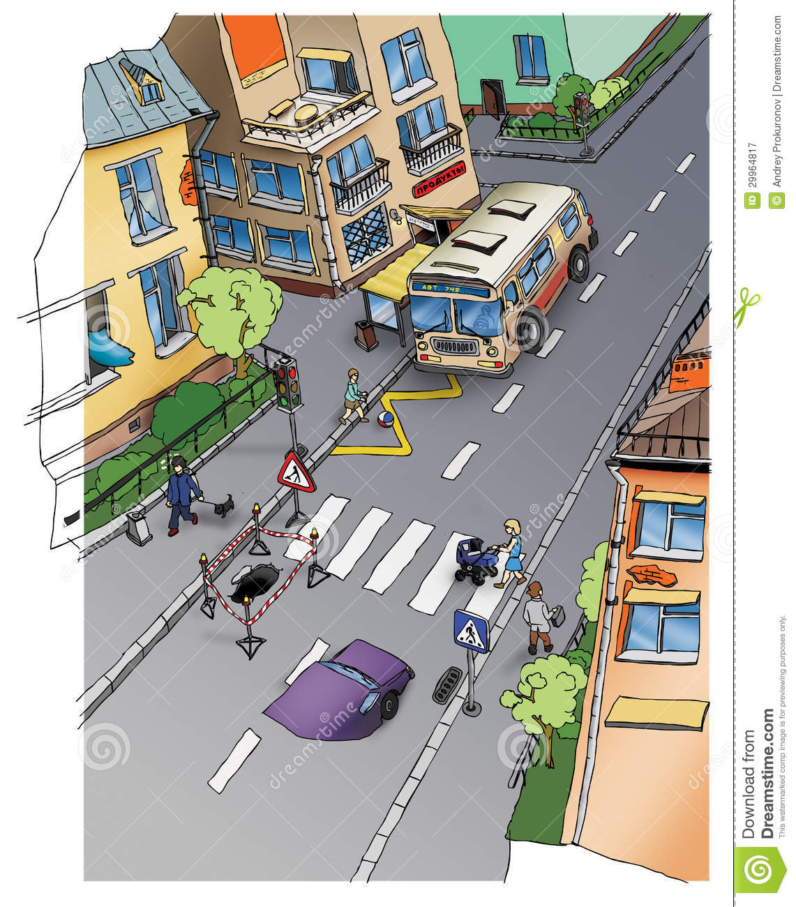 Road Safety. Street. Drawing. Stock Image - Image of horizontal ...