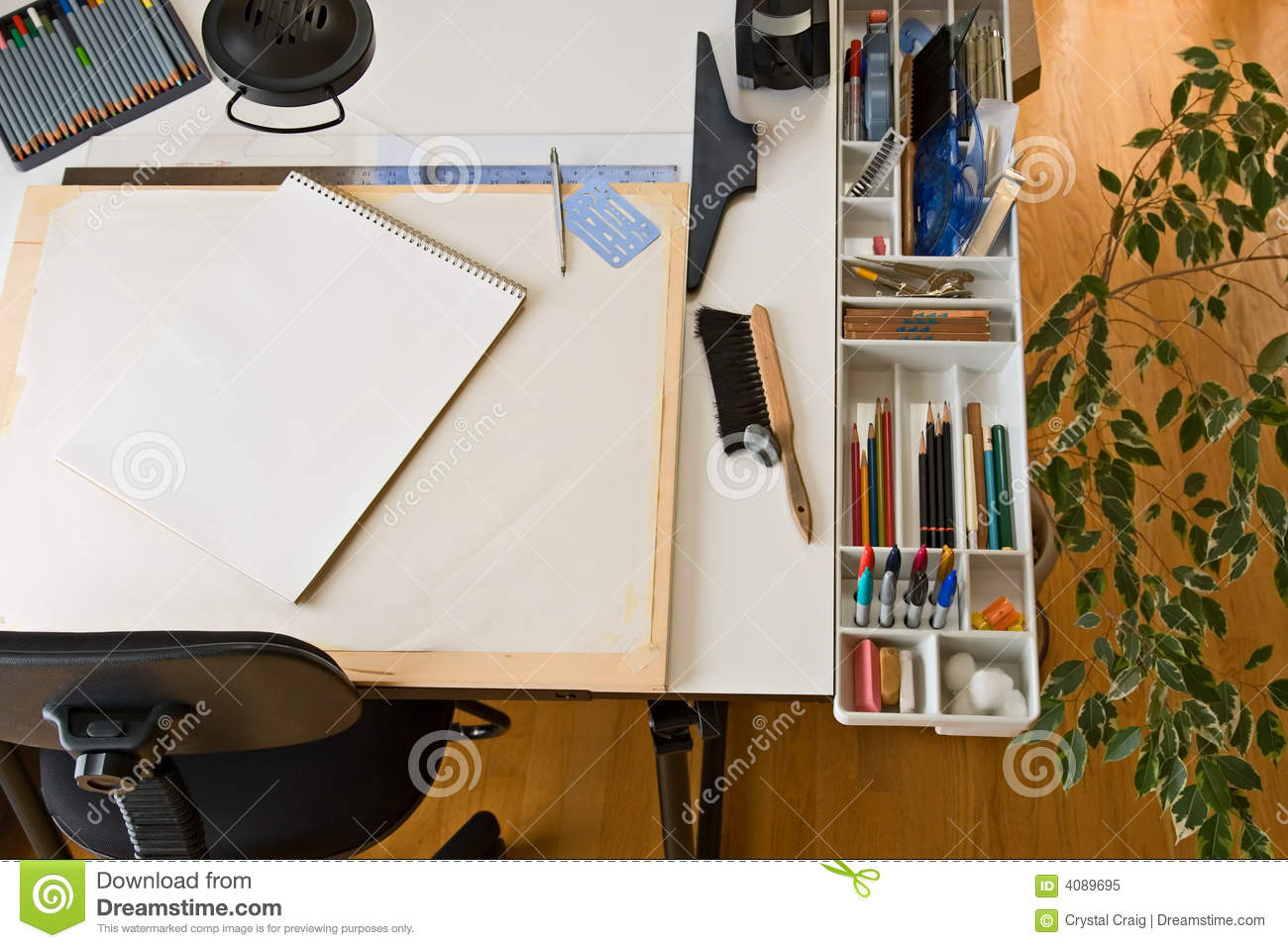 artist designer drafting drawing graphic supplies table