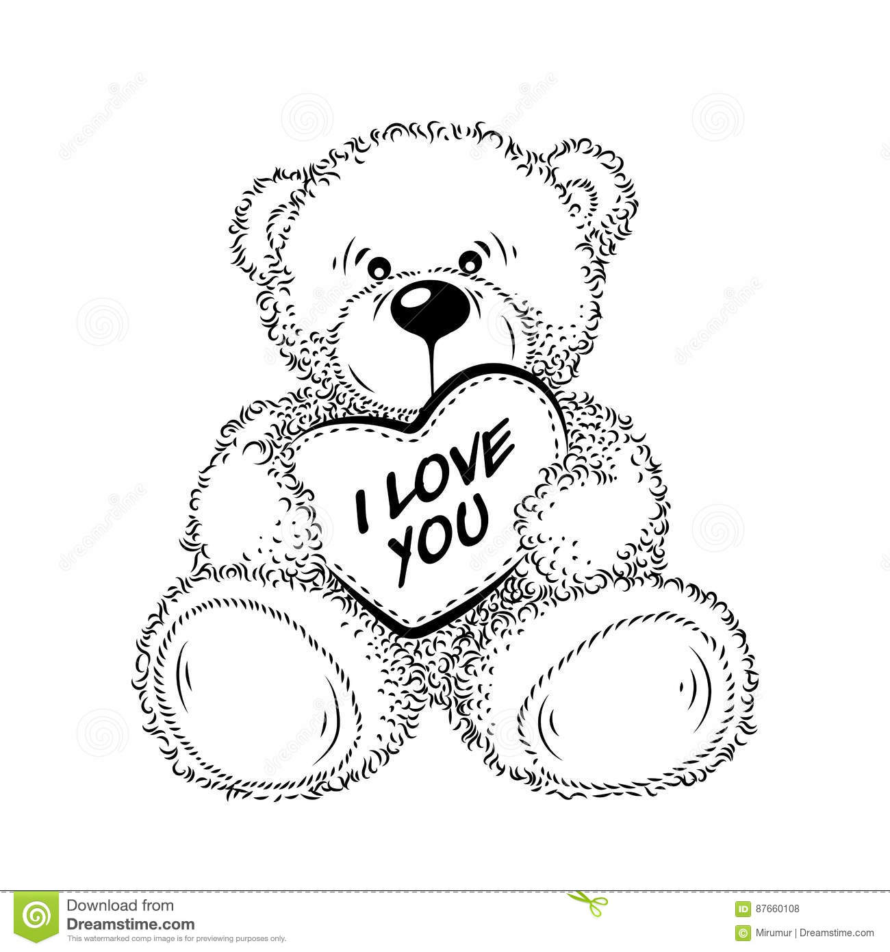 drawing teddy bear with heart stock vector  illustration