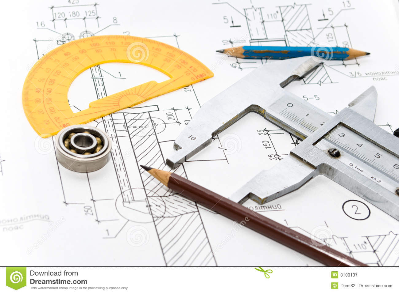 drawing and tool stock image image of blueprint