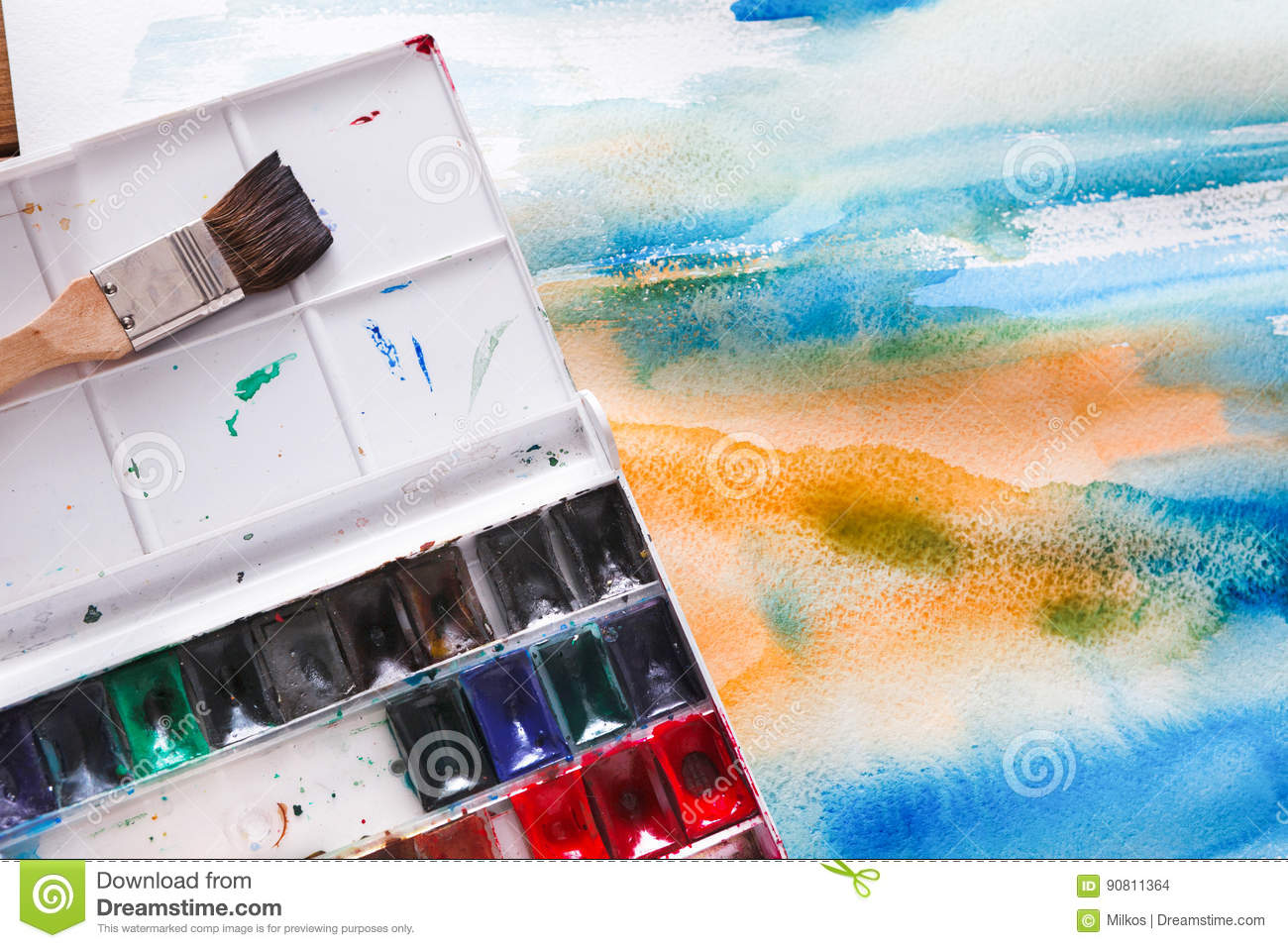 Drawing Tool, Watercolor Palette, Artist Workplace Stock