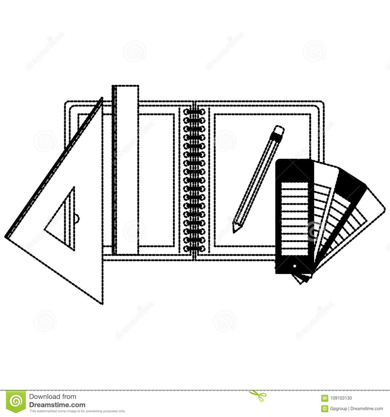 office drawing tools. Drawing Tools And Notebook In Black Dotted Contour Office I
