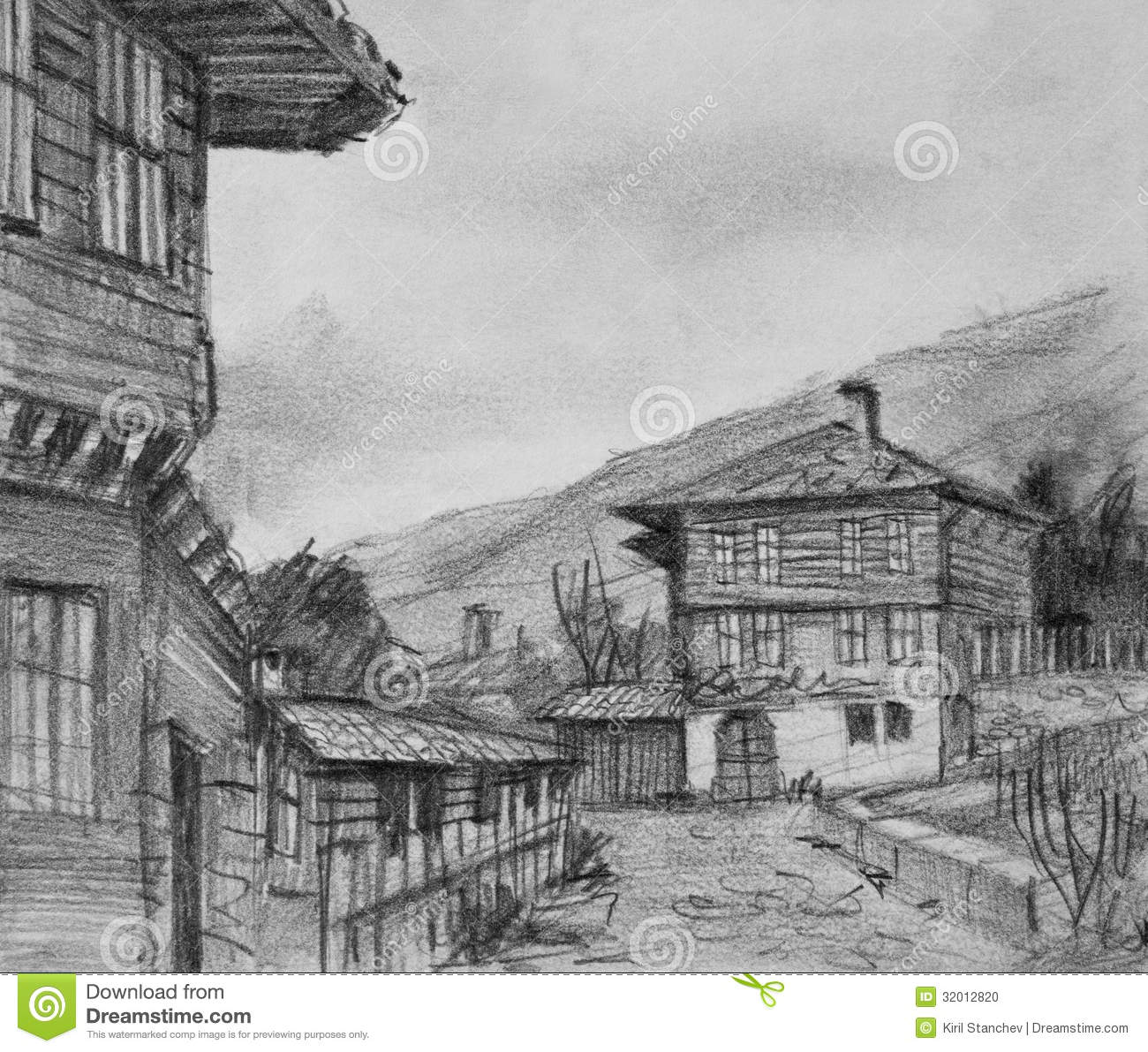Drawing Of Traditional Old Houses In Kotel Stock