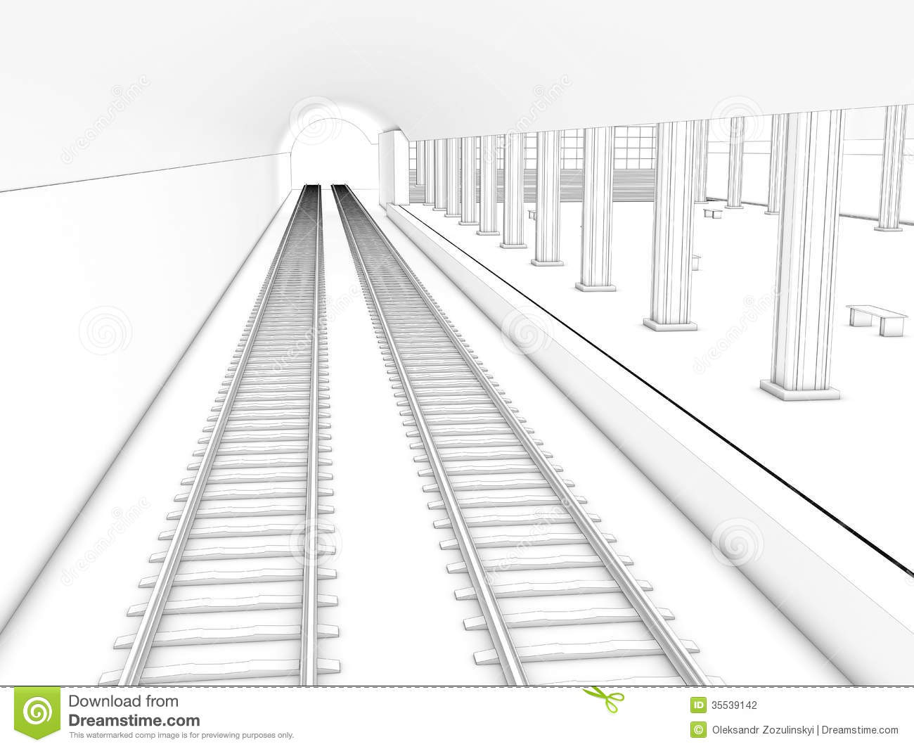 Drawing The Train Station 3 Stock Photography Image