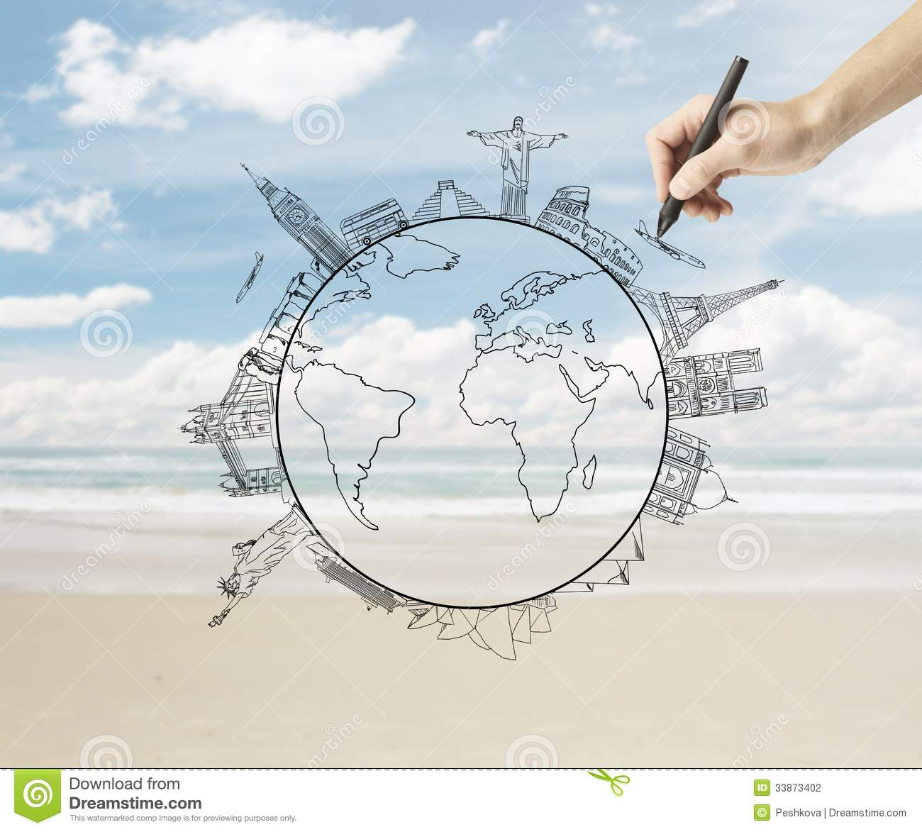 Drawing Traveling Stock Photography Image 33873402