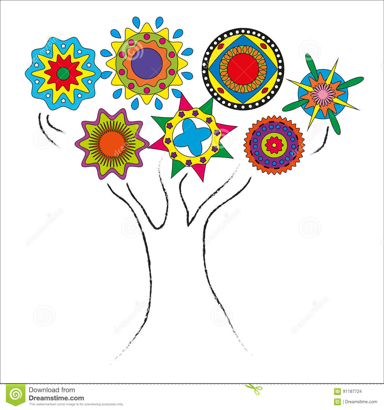 Drawing tree outline with circles the crown stock vector download drawing tree outline with circles the crown stock vector illustration of children overlay izmirmasajfo