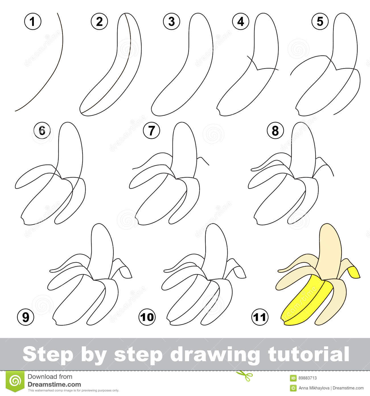Drawing tutorial banana