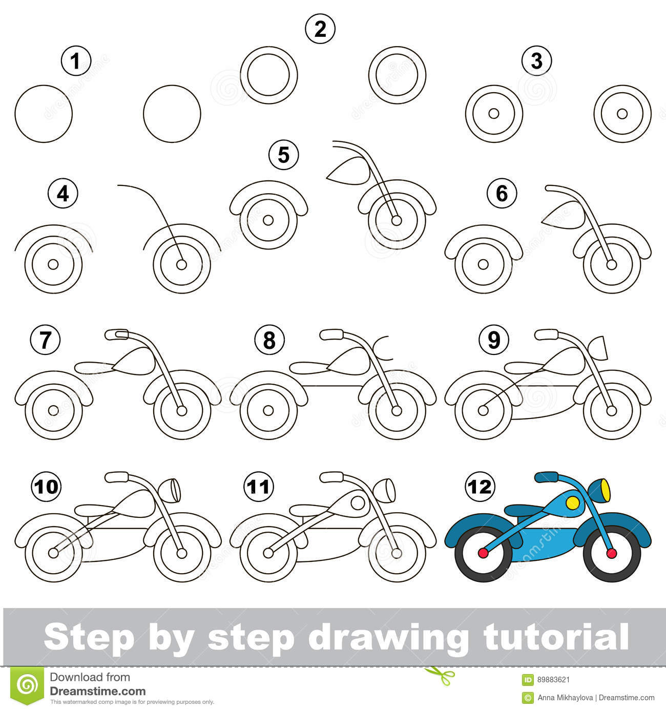 Drawing Tutorial Game For Bike Stock Vector Illustration Of Draw