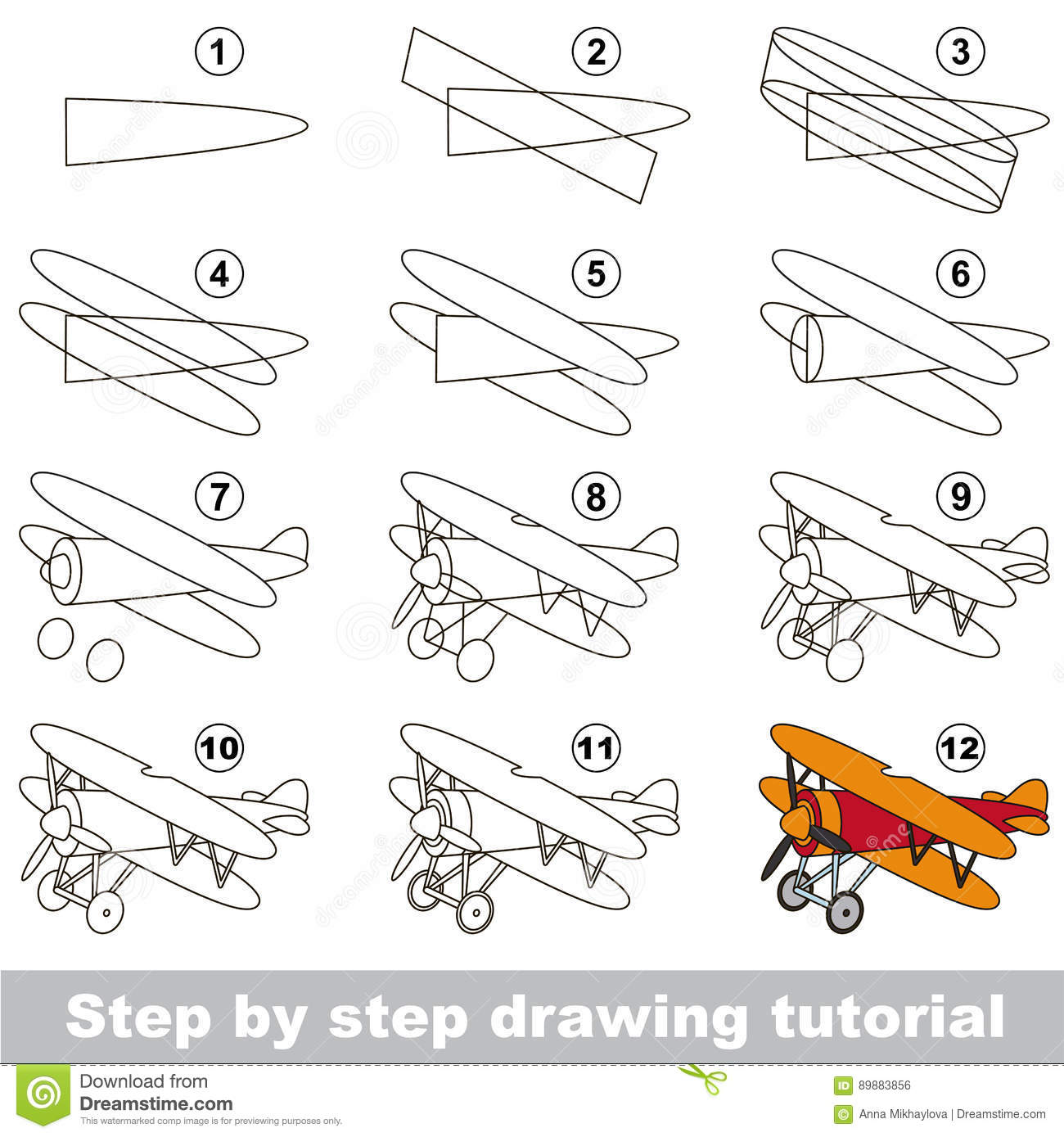 Drawing Tutorial Game For Biplane Stock Vector Illustration Of