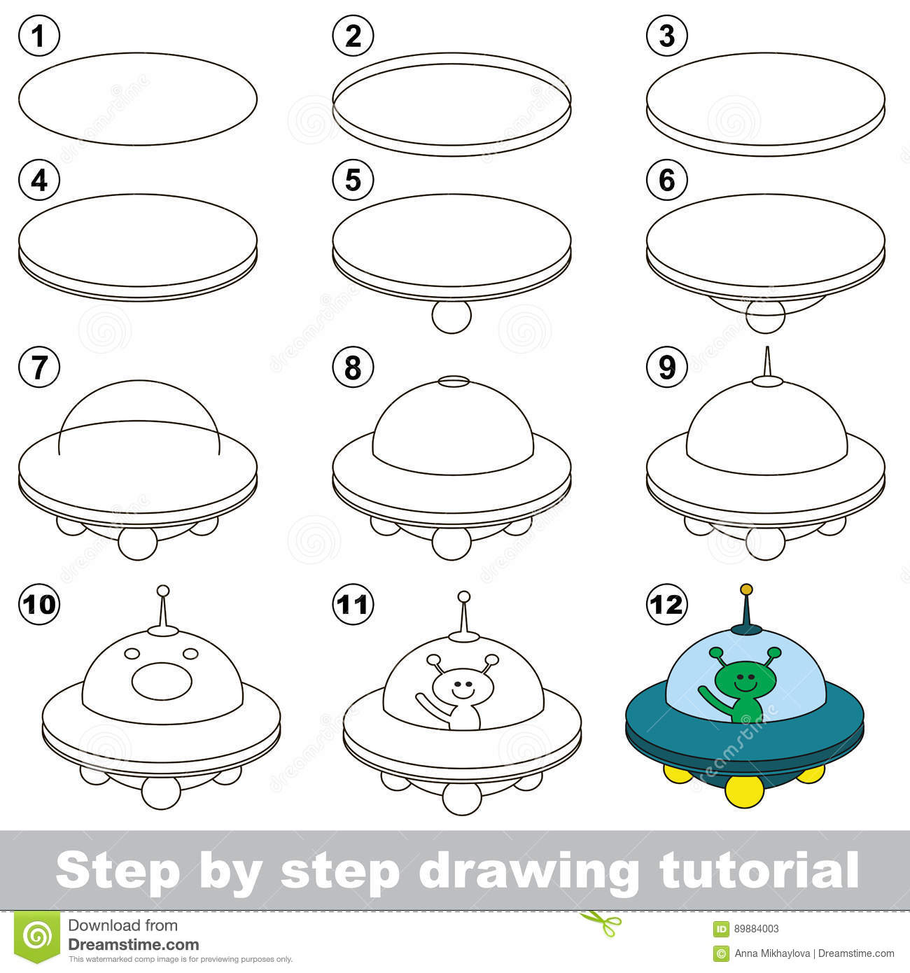 Drawing Tutorial Game For Ufo Stock Vector Illustration Of Step