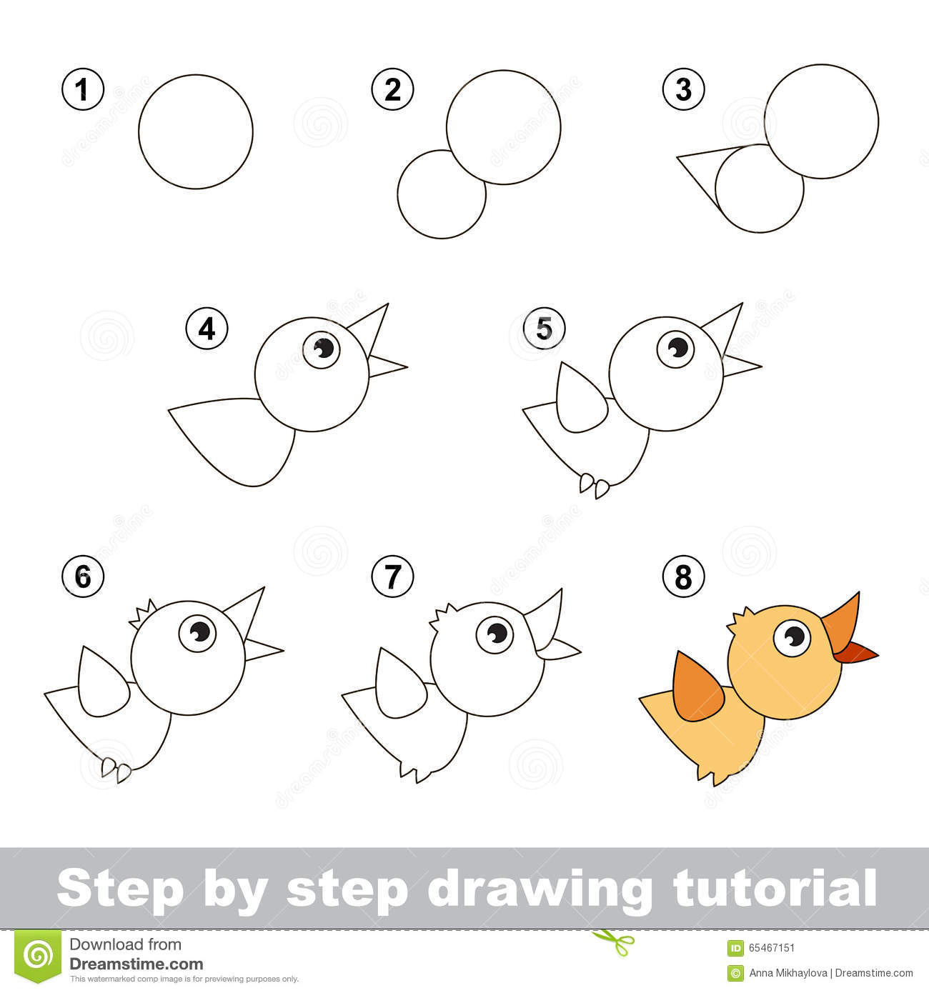 Drawing Tutorial How To Draw A Bird Stock Vector Illustration Of