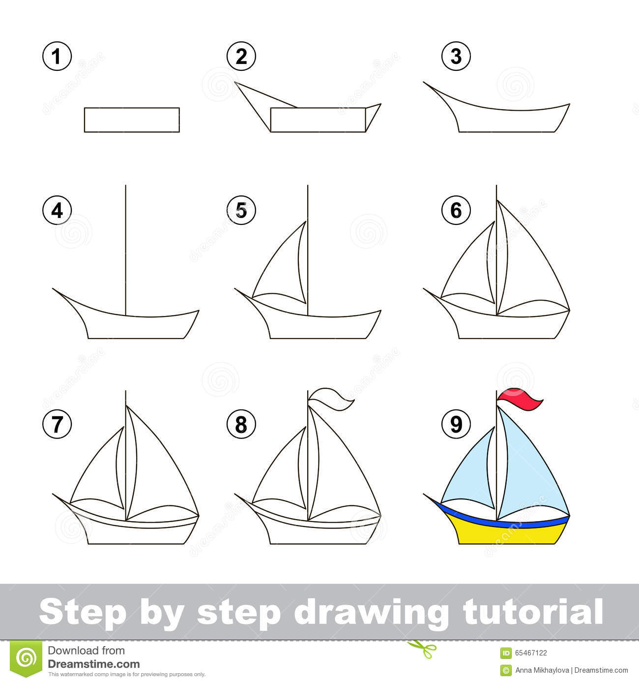 Drawing Tutorial. How To Draw A Boat Stock Vector - Image