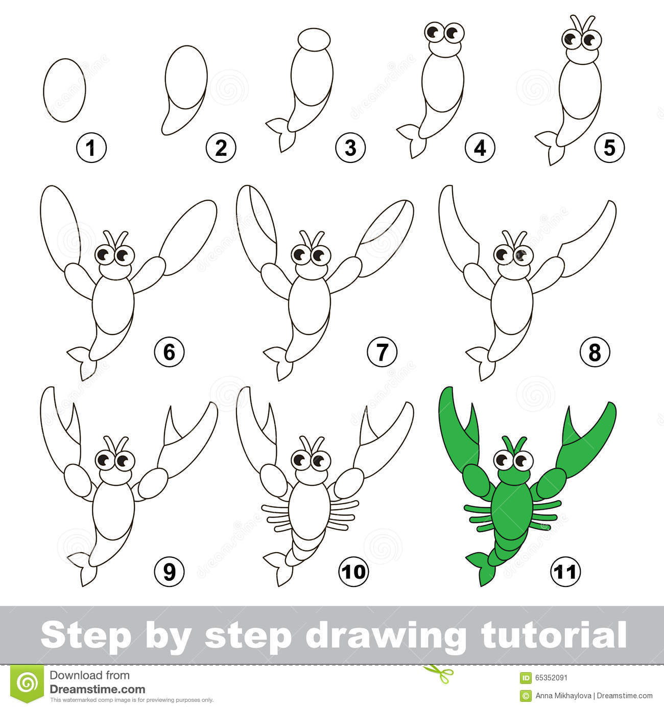 Drawing Tutorial How To Draw A Crayfish Stock Vector Illustration