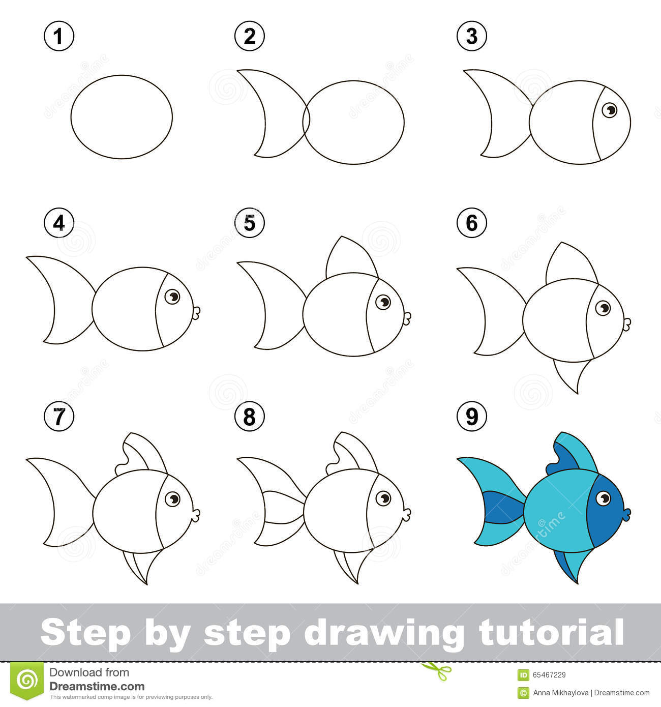Drawing tutorial how to draw a cute fish stock vector for Learn to draw cartoons step by step lessons