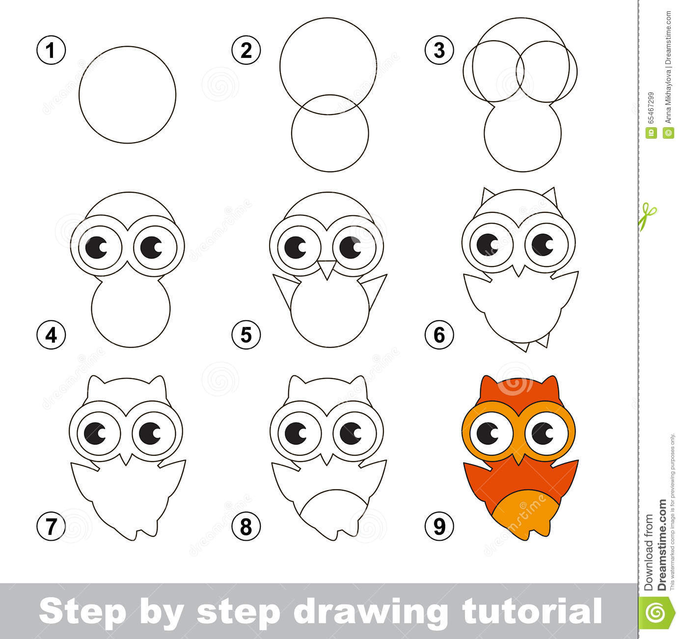 Drawing tutorial how to draw a cute owl stock vector for Draw an owl in two steps