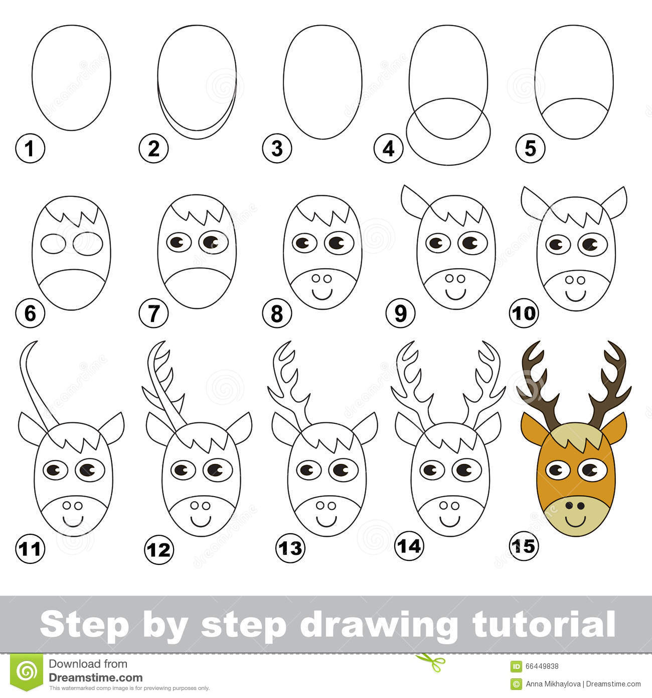 drawing tutorial how to draw a deer head stock vector