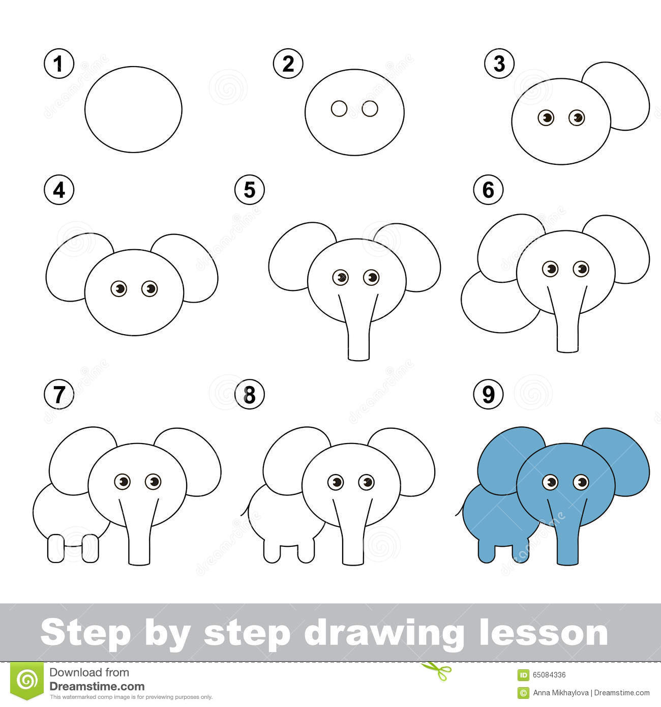 Drawing Tutorial How To Draw A Elephant Stock Vector Illustration