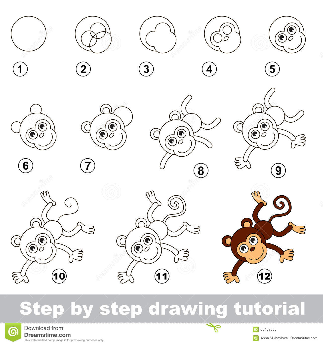 Drawing Tutorial. How To Draw A Funny Monkey Stock Vector ...