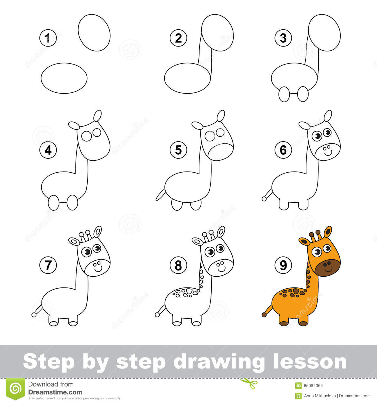Drawing Tutorial. How To Draw A Giraffe Stock Vector ... - photo#22