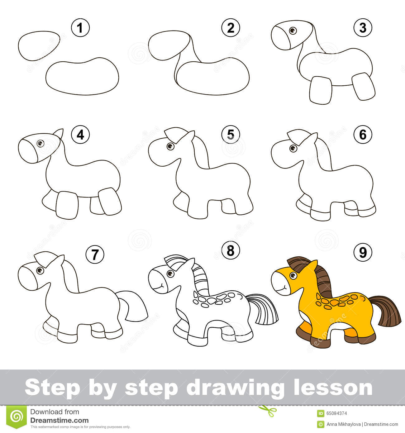 Drawing Tutorial How To Draw A Horse Stock Vector Illustration Of Developing Contour 65084374