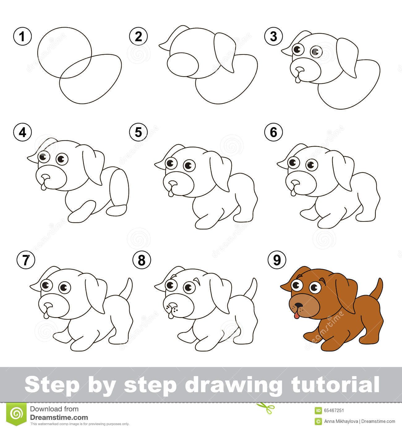 Drawing tutorial how to draw a little puppy stock vector for Learn to draw cartoons step by step lessons
