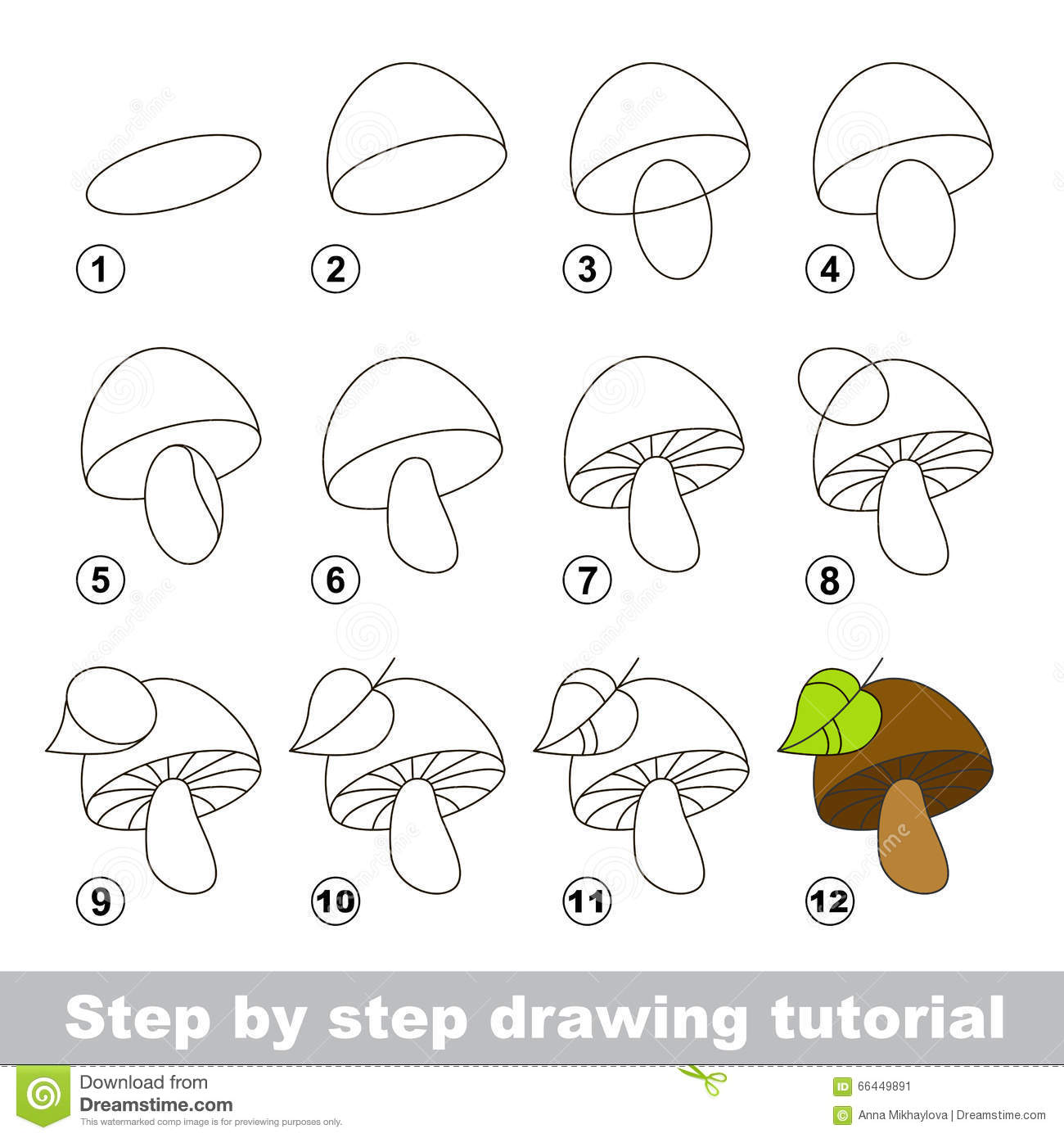 The gallery for pomegranate drawing for kids for How to draw a mushroom