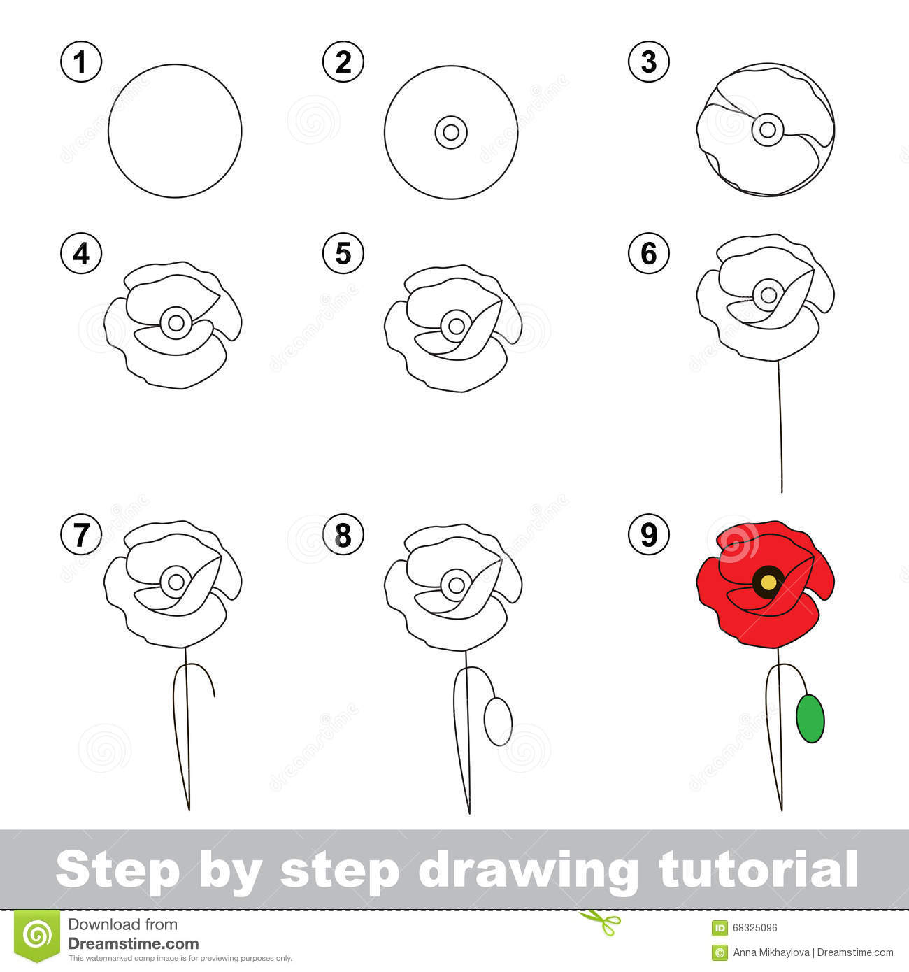 Drawing tutorial how to draw a poppy stock vector illustration of download comp mightylinksfo