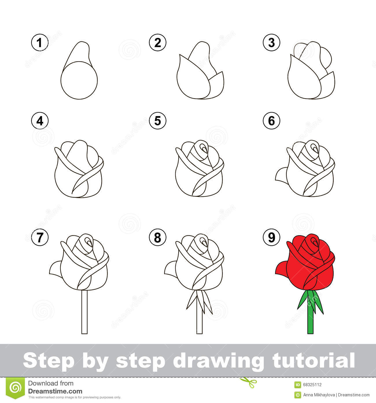 Drawing Tutorial How To Draw A Rose Stock Vector Illustration Of