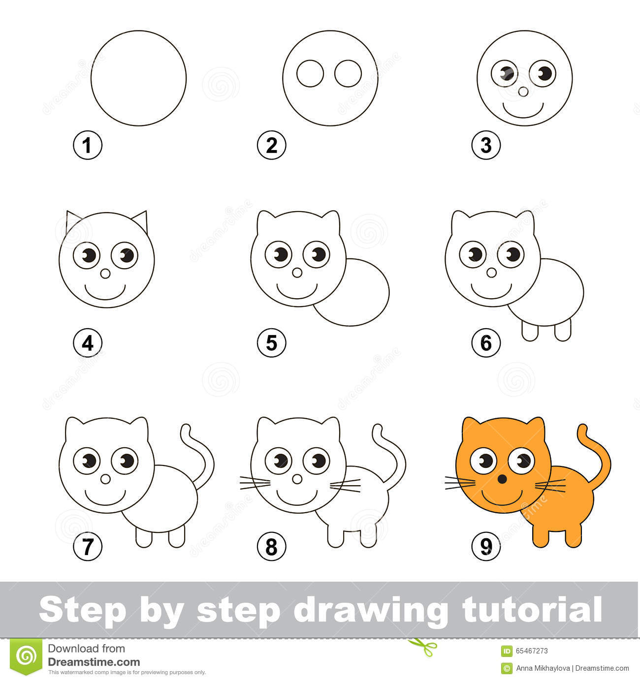 Drawing tutorial how to draw a small kitten stock vector for Learn to draw cartoons step by step lessons