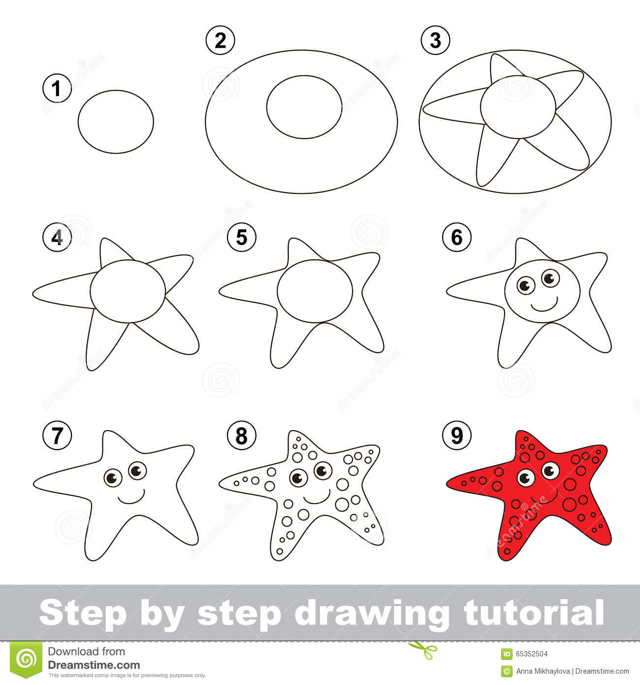Drawing Tutorial How To Draw A Starfish Stock Images